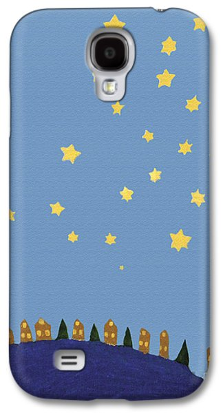 Night Sky Paintings Galaxy S4 Cases - Village Starry Night Galaxy S4 Case by Michael Cagnacci