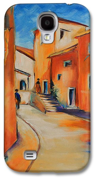 Peaceful Scene Paintings Galaxy S4 Cases - Village Street in Provence Galaxy S4 Case by Elise Palmigiani