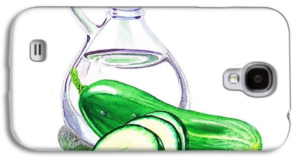 Vinegar Galaxy S4 Cases - Vinegar Bottle And Cucumbers Galaxy S4 Case by Irina Sztukowski