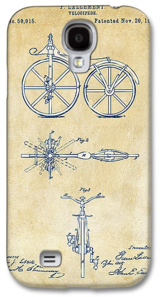Vintage 1866 Velocipede Bicycle Patent Artwork Galaxy S4 Case by Nikki Marie Smith