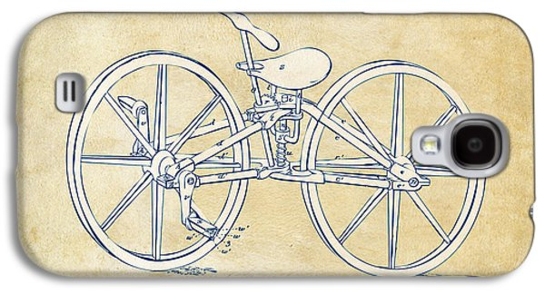 Vintage 1869 Velocipede Bicycle Patent Artwork Galaxy S4 Case by Nikki Marie Smith