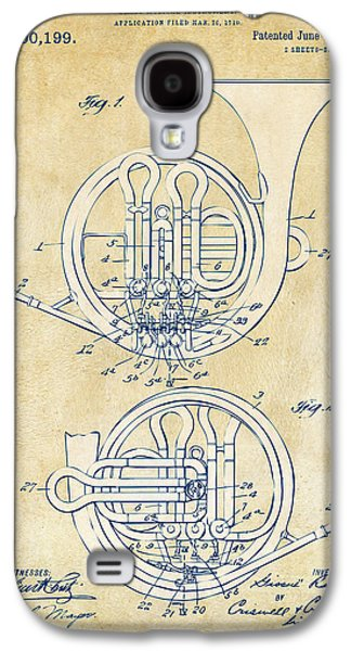 Vintage 1914 French Horn Patent Artwork Galaxy S4 Case by Nikki Marie Smith