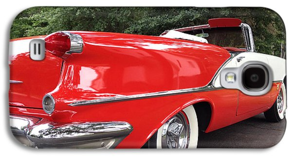 Vintage American Car - Red And White 1955 Oldsmobile Convertible Classic Car Galaxy S4 Case by Kathy Fornal
