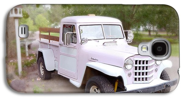 Old Trucks Photographs Galaxy S4 Cases - Vintage American Pink Truck - Vintage Pink 1950s Willys Truck - Classic American Old Pink Truck  Galaxy S4 Case by Kathy Fornal