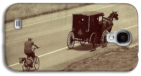 Amish Family Photographs Galaxy S4 Cases - Vintage Amish Buggy And Bicycle Galaxy S4 Case by Dan Sproul