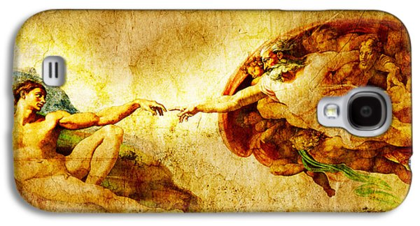 The Church Mixed Media Galaxy S4 Cases - Vintage art - the Creation of Adam Galaxy S4 Case by Stefano Senise