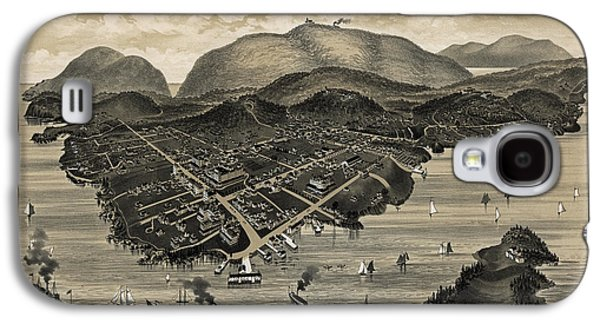 Maine Mountains Galaxy S4 Cases - Vintage Bar Harbor Map Galaxy S4 Case by Vintage Map