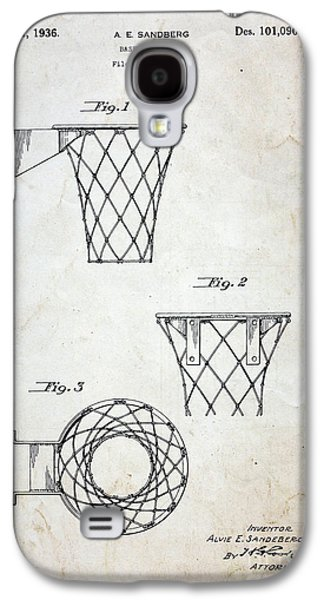Vintage Basketball Hoop Patent Galaxy S4 Case by Paul Ward