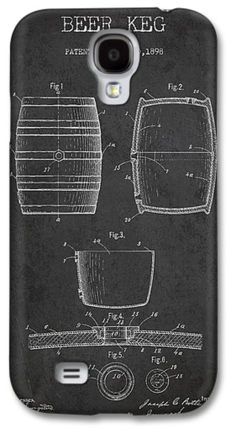 Vintage Beer Keg Patent Drawing From 1898 - Dark Galaxy S4 Case by Aged Pixel