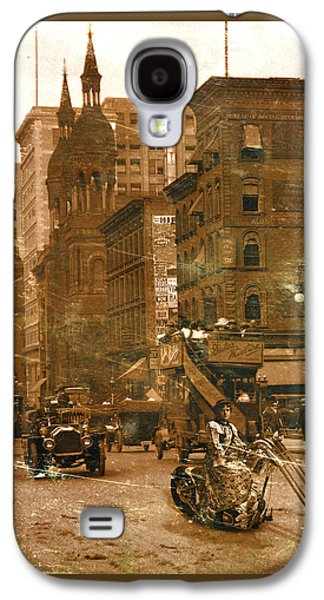 Photo Manipulation Mixed Media Galaxy S4 Cases - Vintage Bike Lady Galaxy S4 Case by Marian Voicu