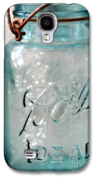 Vintage Blue Aqua Ball Jars - Mason Jars Ball Jars Photography - Shabby Chic Ball Jar With Hearts Galaxy S4 Case by Kathy Fornal