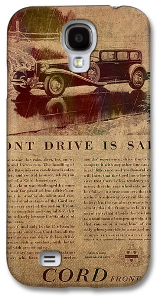 Posters On Mixed Media Galaxy S4 Cases - Vintage Car Advertisement 1930 Cord Front Drive Ad Poster on Worn Faded Paper Galaxy S4 Case by Design Turnpike