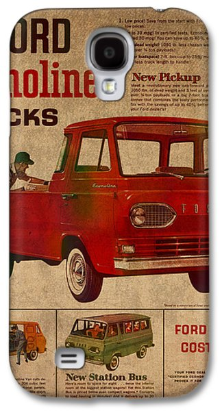 Posters On Mixed Media Galaxy S4 Cases - Vintage Car Advertisement 1961 Ford Econoline Truck Ad Poster on Worn Faded Paper Galaxy S4 Case by Design Turnpike