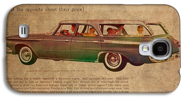 Posters On Mixed Media Galaxy S4 Cases - Vintage Car Advertisement 1961 Plymouth Wagon Ad Poster on Worn Faded Paper Galaxy S4 Case by Design Turnpike