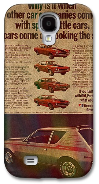 Posters On Mixed Media Galaxy S4 Cases - Vintage Car Advertisement American Motors Gremlin Ad Poster on Worn Faded Paper Galaxy S4 Case by Design Turnpike