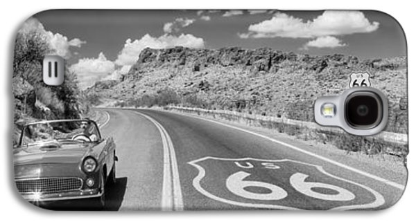 Yellow Line Galaxy S4 Cases - Vintage Car Moving On The Road, Route Galaxy S4 Case by Panoramic Images