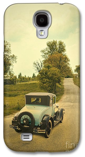 Old Country Roads Photographs Galaxy S4 Cases - Vintage Car on a Rural Road Galaxy S4 Case by Jill Battaglia