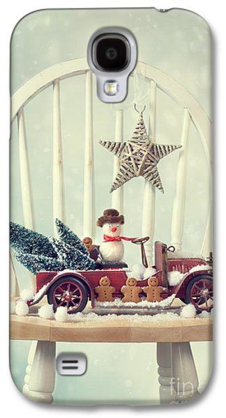 Snow Scene Galaxy S4 Cases - Vintage Christmas Truck Galaxy S4 Case by Amanda And Christopher Elwell