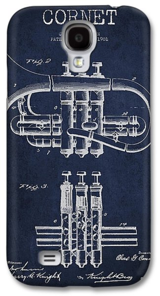 Cornet Patent Drawing From 1901 - Blue Galaxy S4 Case by Aged Pixel
