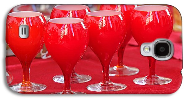 Wine Service Galaxy S4 Cases - vintage Crystal Red glasses for sale in antiques shop Galaxy S4 Case by Federico Candoni