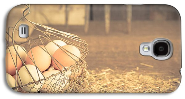 Agricultural Galaxy S4 Cases - Vintage eggs in wire basket Galaxy S4 Case by Edward Fielding