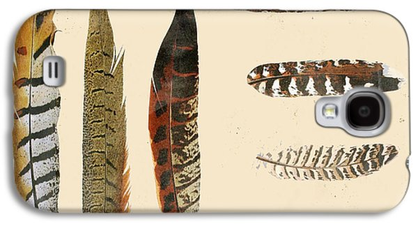 Nature Study Digital Art Galaxy S4 Cases - Vintage Feather Study-F Galaxy S4 Case by Jean Plout
