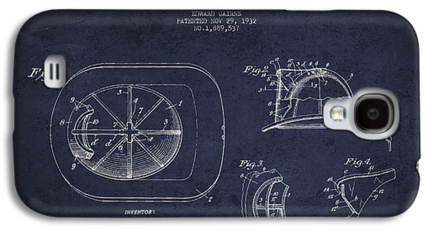 Gear Galaxy S4 Cases - Vintage Firefighter Helmet Patent drawing from 1932 - Navy Blue Galaxy S4 Case by Aged Pixel