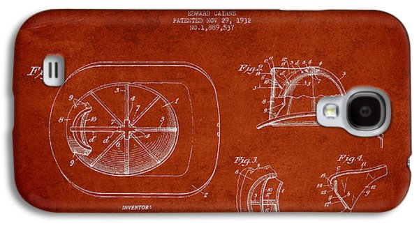 Gear Galaxy S4 Cases - Vintage Firefighter Helmet Patent drawing from 1932-Red Galaxy S4 Case by Aged Pixel