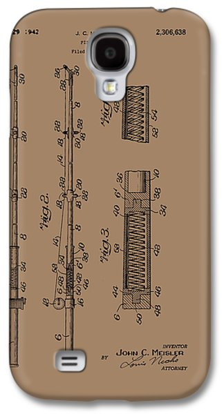 Pole Drawings Galaxy S4 Cases - Vintage Fishing Rod Patent 1942 Galaxy S4 Case by Mountain Dreams