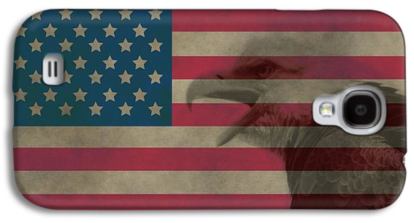 Stars And Stripes Mixed Media Galaxy S4 Cases - Vintage Flag With Bald Eagle Galaxy S4 Case by Dan Sproul