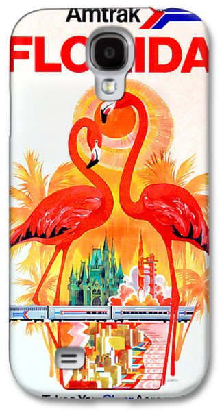 Vintage Florida Amtrak Travel Poster Galaxy S4 Case by Jon Neidert