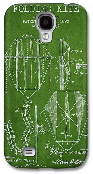 Kite Galaxy S4 Cases - Vintage Folding Kite Patent from 1892 - Green Galaxy S4 Case by Aged Pixel