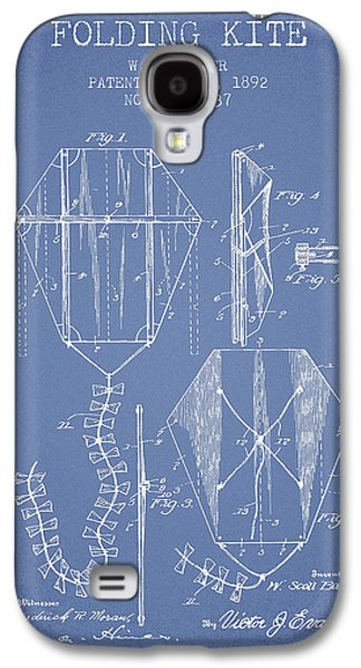 Kite Galaxy S4 Cases - Vintage Folding Kite Patent from 1892 -Light Blue Galaxy S4 Case by Aged Pixel