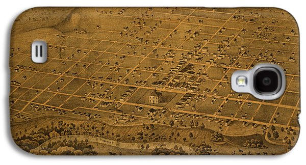 Vintage Fort Worth Texas In 1876 City Map On Worn Canvas Galaxy S4 Case by Design Turnpike