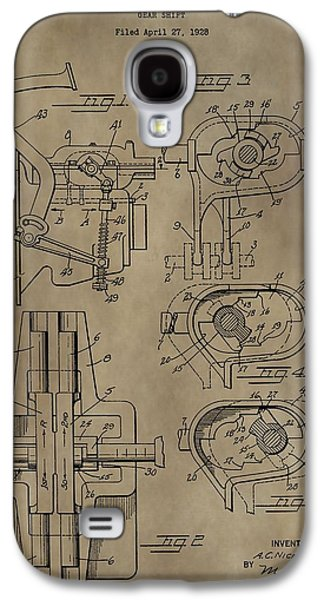 Gear Mixed Media Galaxy S4 Cases - Vintage Gear Shift Patent Galaxy S4 Case by Dan Sproul