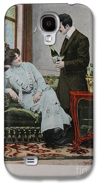 Vintage Handtinted Postcard Of 1904 Of Two Lovers Galaxy S4 Case by Patricia Hofmeester