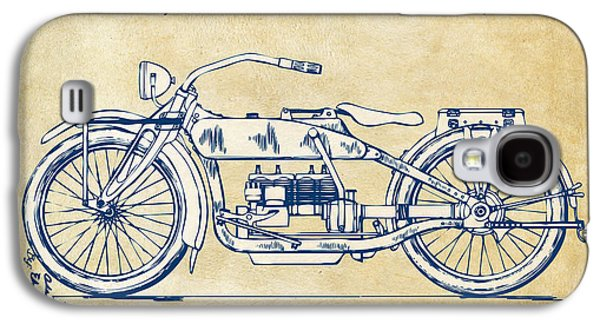 Open Galaxy S4 Cases - Vintage Harley-Davidson Motorcycle 1919 Patent Artwork Galaxy S4 Case by Nikki Smith
