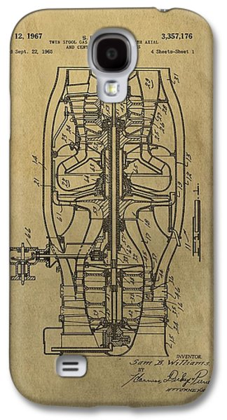 Mechanics Mixed Media Galaxy S4 Cases - Vintage Jet Engine Patent Galaxy S4 Case by Dan Sproul