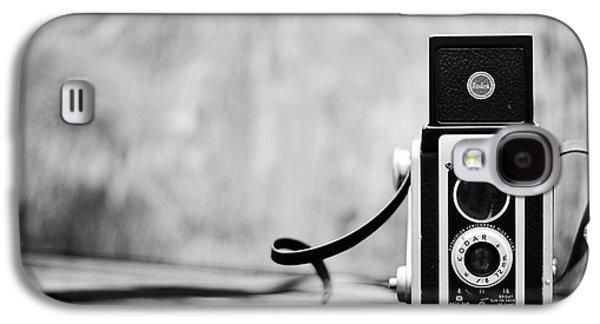 Rangefinder Galaxy S4 Cases - Vintage Kodak Duaflex II Camera Black and White Galaxy S4 Case by Terry DeLuco