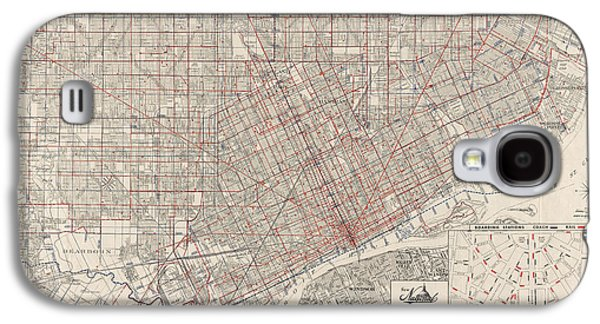 Street Drawings Galaxy S4 Cases - Vintage Map of Detroit Michigan from 1947 Galaxy S4 Case by Blue Monocle