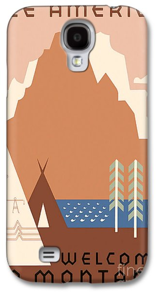 Westerns Drawings Galaxy S4 Cases - Vintage Montana Travel Poster Galaxy S4 Case by Jon Neidert