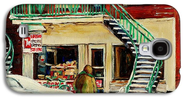 Montreal Storefronts Paintings Galaxy S4 Cases - Vintage Montreal Art Verdun Depanneur Winter Scene Paintings Staircases And 7up Signs Carole Spandau Galaxy S4 Case by Carole Spandau