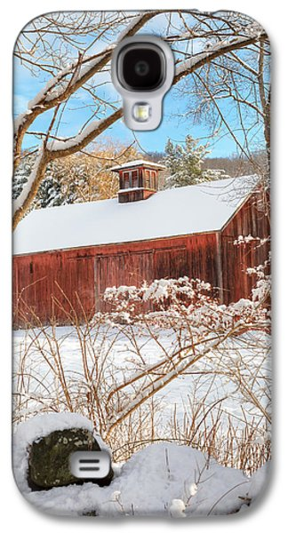 Red Barn In Winter Photographs Galaxy S4 Cases - Vintage New England Barn Portrait Galaxy S4 Case by Bill  Wakeley