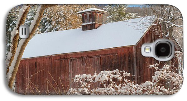 Red Barn In Winter Photographs Galaxy S4 Cases - Vintage New England Barn Square Galaxy S4 Case by Bill  Wakeley