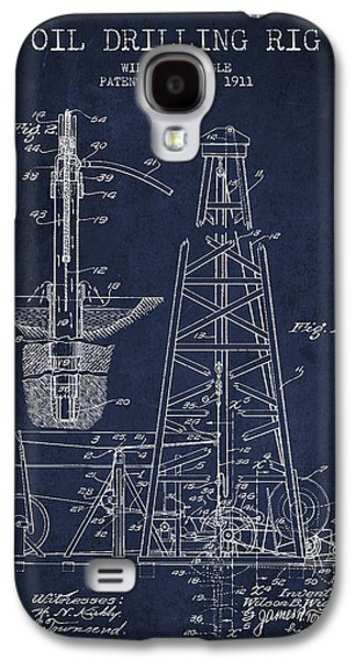 Drawing Galaxy S4 Cases - Vintage Oil drilling rig Patent from 1911 Galaxy S4 Case by Aged Pixel