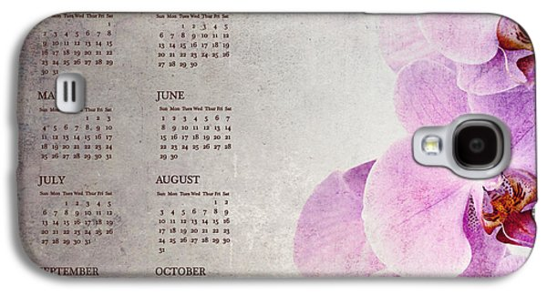Studio Photographs Galaxy S4 Cases - Vintage orchid calendar for 2014 Galaxy S4 Case by Jane Rix