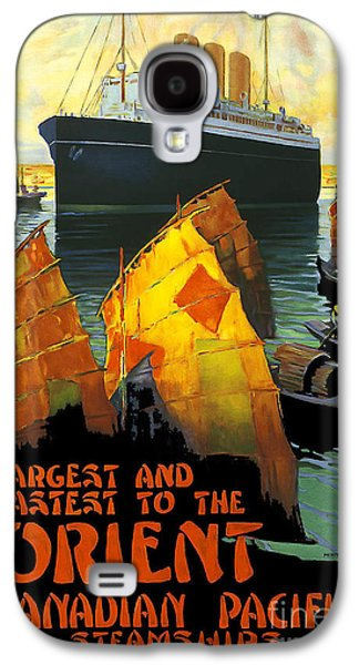 Sailboats Drawings Galaxy S4 Cases - Vintage Orient Travel Poster Galaxy S4 Case by Jon Neidert