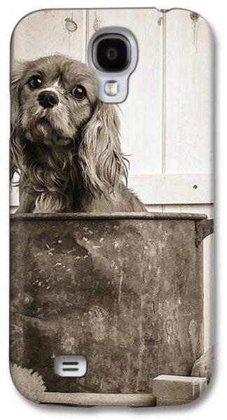 Spaniels Galaxy S4 Cases - Vintage Puppy Bath Galaxy S4 Case by Edward Fielding