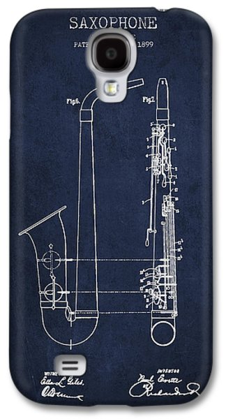 Saxophone Patent Drawing From 1899 - Blue Galaxy S4 Case by Aged Pixel