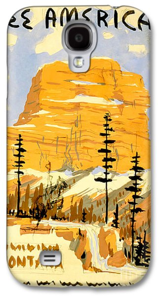 Westerns Drawings Galaxy S4 Cases - Vintage See America Travel Poster Galaxy S4 Case by Jon Neidert
